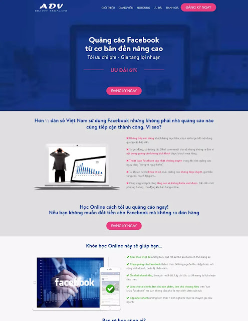 Template blogspot landing page Dịch vụ Facebook