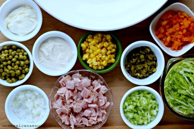 Ensalada de Jamón para compartir by www.unamexicanaenusa.com