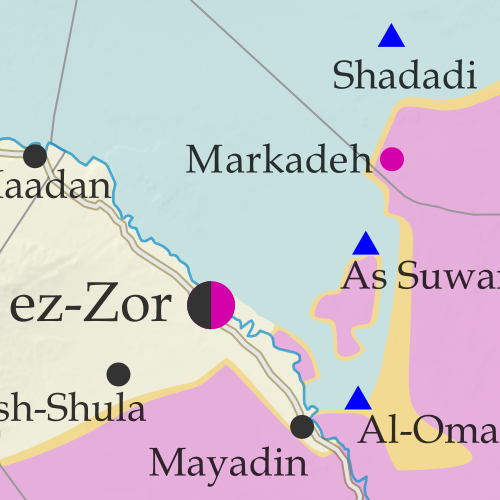 Map of Syrian Civil War (Syria control map): Fighting and territorial control in Syria in October 2017 (Free Syrian Army rebels, Kurdish YPG, Syrian Democratic Forces (SDF), Jabhat Fateh al-Sham / Hayat Tahrir al-Sham (Al-Nusra Front), Islamic State (ISIS/ISIL), and others). Includes Russia-Turkey-Iran agreed de-escalation zones and US deconfliction zone, plus recent locations of conflict and territorial control changes, such as Deir ez-Zor, Maadan, As Suwar, Aqerabat, and more. Colorblind accessible.