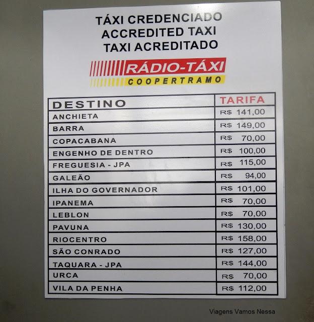 Tabela utilizada pelos táxis especiais no trajeto da rodoviária ao bairro
