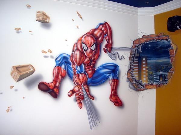 Dormitorio hombre ara a spiderman bedroom by dormitorios for Cuartos decorados hombre arana