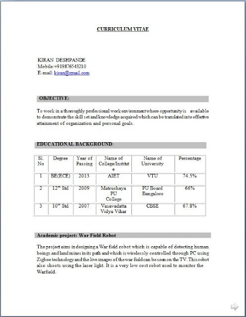 ece freshers engineer resume sample template in word format
