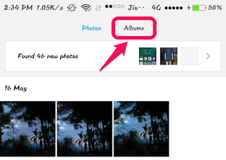 Switch to Albums Tab