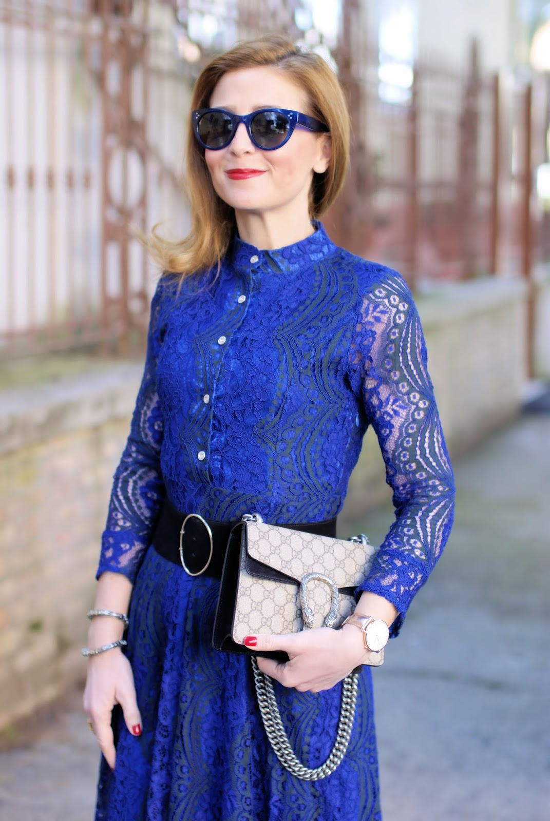 Blue lace dress and Gucci bag on Fashion and Cookies fashion blog, fashion blogger style