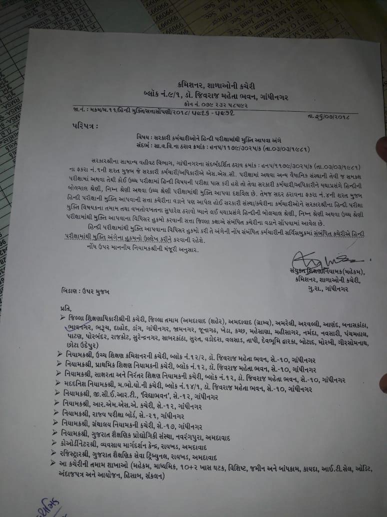 सरकारी कर्मचारिओ को हिन्दी परीक्षा में से मुक्ति देने हेतु पत्र
