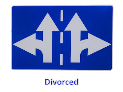 Picture Shows Two Road Signs Divorcing in Opposite Directions in Bright Blue Color