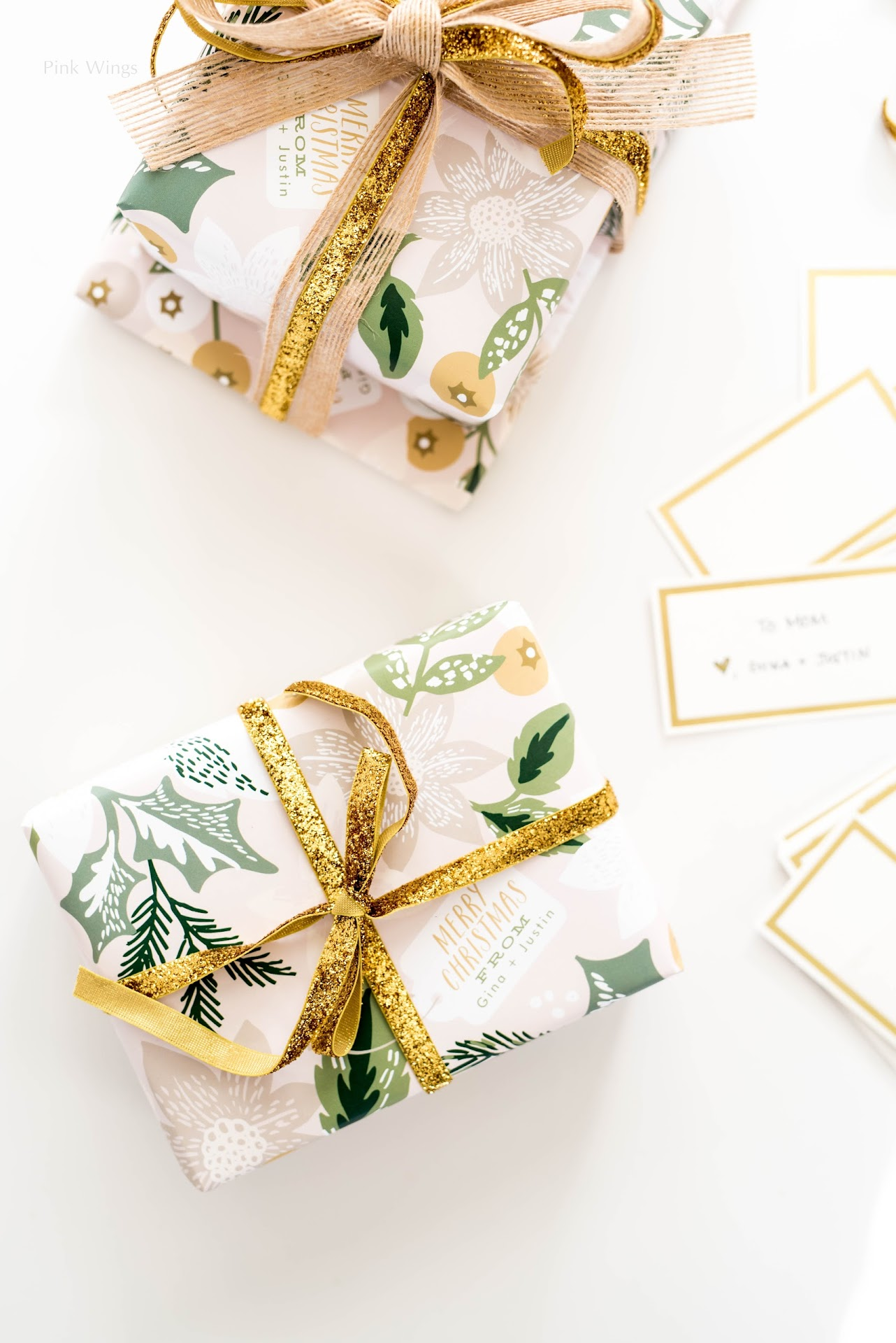 pretty christmas wrapping gifts, personalized gifts, gifts for people who are hard to shop for, gifts for anyone, custom gifts, personalized stationery, pretty gift wrapping, gold gift wrapping, gold ribbon, jute burlap ribbon, classy holiday wrapping paper, gold gift cards tags
