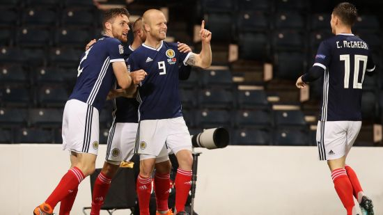 UEFA Nations League : Steven Naismith Celebrates with teammates