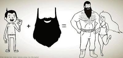 Witziger Vergleich Mann mit und ohne Bart - Komische Zeichnung