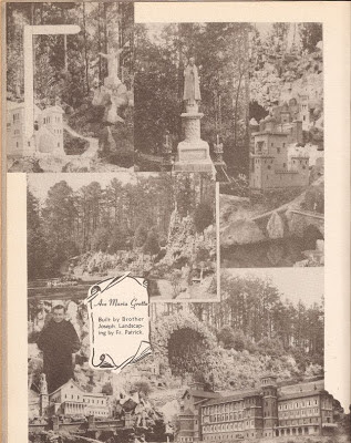 Collage of Ave Maria Grotto scanned from The Bernardian 1949