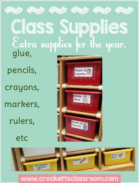 Store all your materials and supplies in the color coordinated bins.
