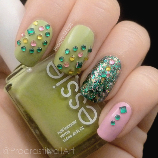 Nail art featuring Essie Navigate Her and French Affair and Revlon Mayan Riviera