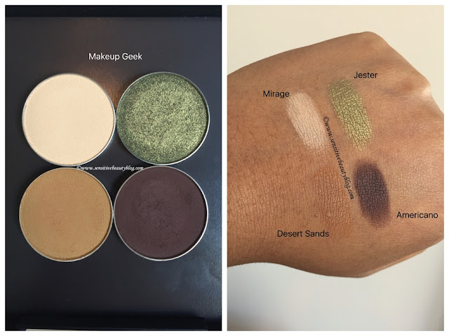 Eyeshadow Combo (Makeup Geek mirage, jester, desert sands, americano)
