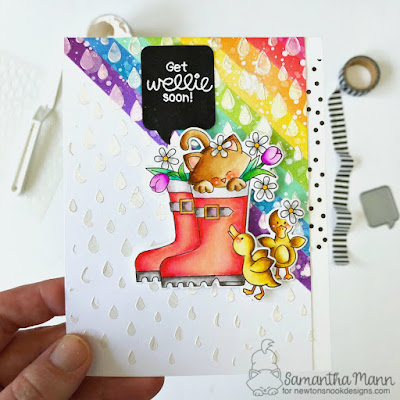 Get Wellie Soon Card by Samantha Mann for Newton's Nook Designs, Get Well Card, Cards, handmade cards, rainbow, distress inks, ink blending, embossing paste, stencil, #newtonsnook #getwell #cards #getwellcard #rainbow #distressinks #inkblending