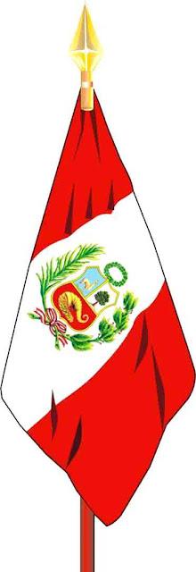Dibujo del estandarte de la bandera peruana a color