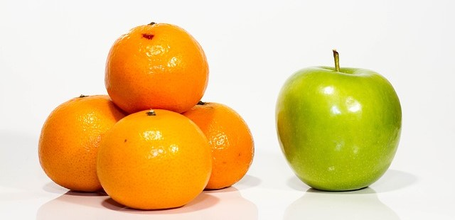 4 Oranges Compared to 1 Apple