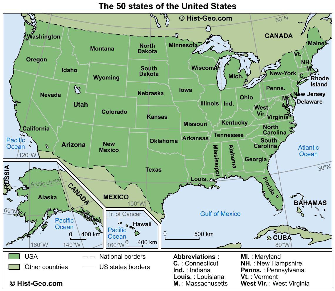 history book: mapa estados unidos
