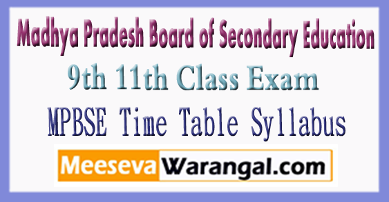 MP Board of Secondary Education 9th 11th Class Exam Time Table 2018