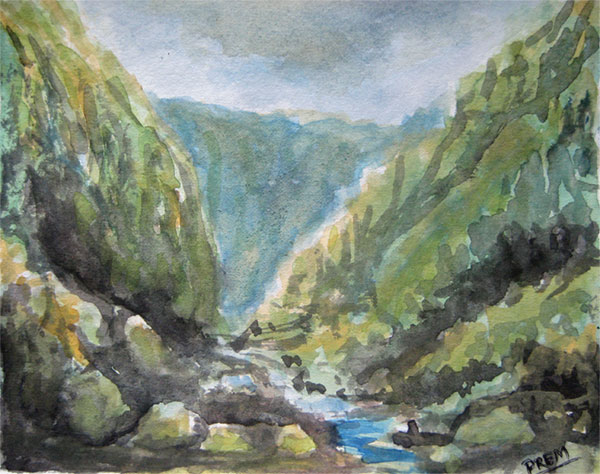 Painting of River in Hilly Landscape