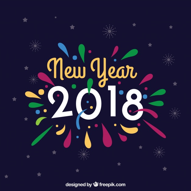 Colorful new year background Free Vector