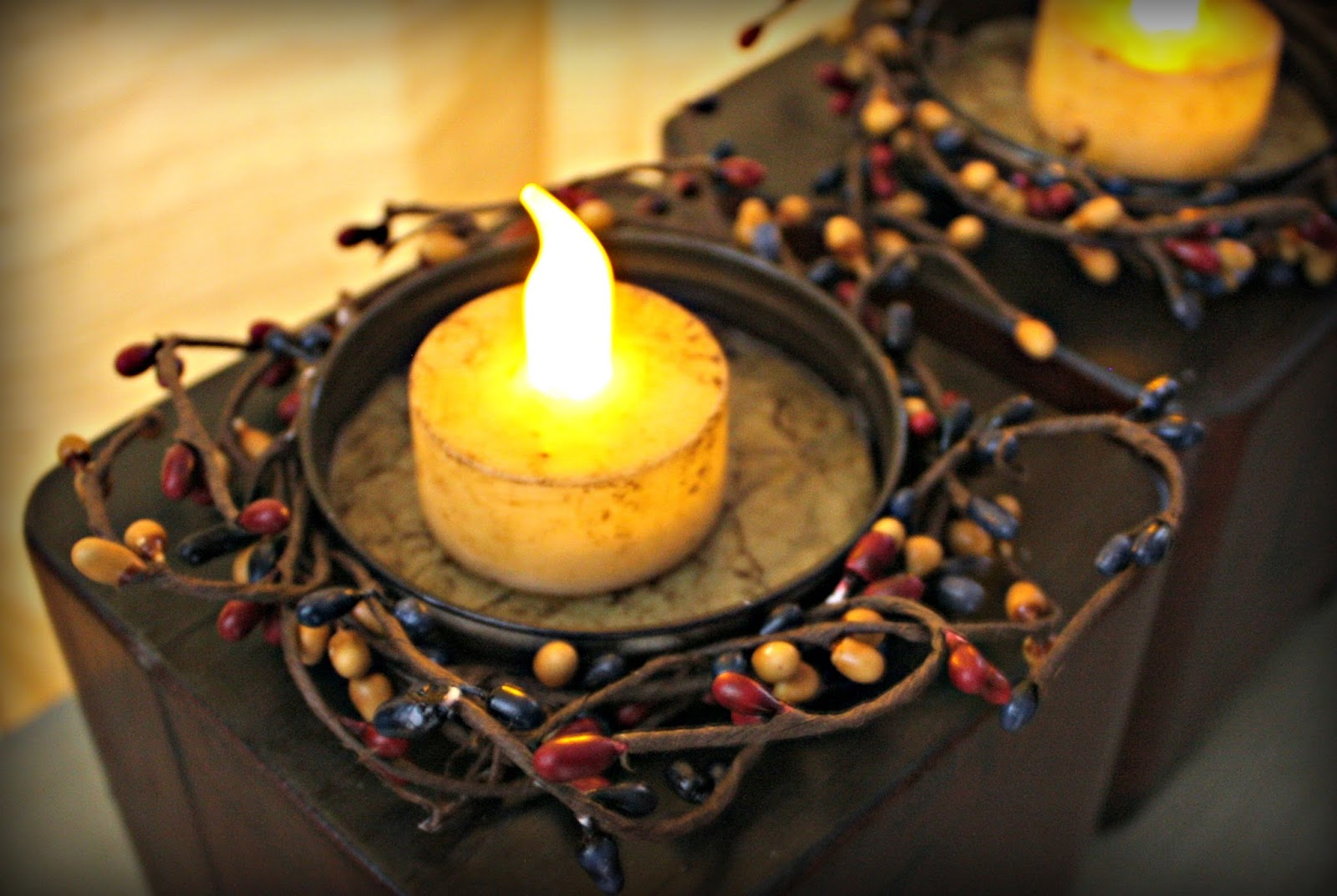 Mason jar lids as candleholders