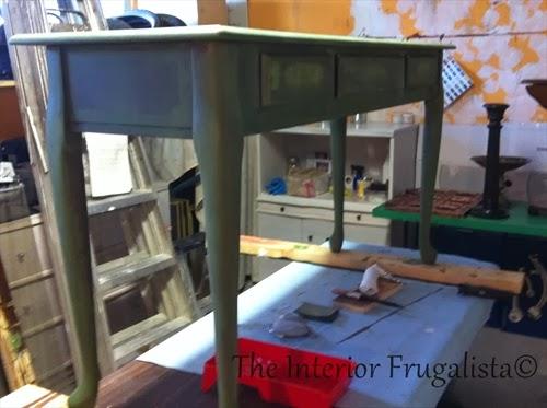 Milk Paint Boxwood Green Sofa Table