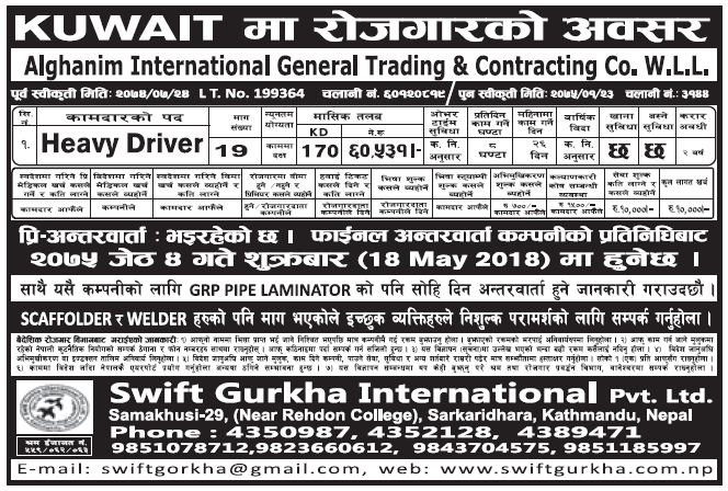 Jobs in Kuwait for Nepali, Salary Rs 60,531
