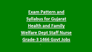 Exam Pattern and Syllabus for Gujarat Health and Family Welfare Department Staff Nurse Grade-3 1466 Govt Jobs Recruitment 2018