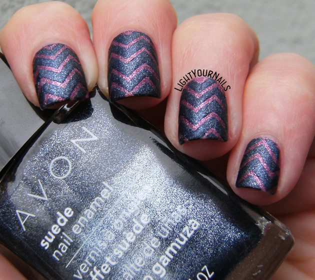 Blue and purple Avon suede chevron