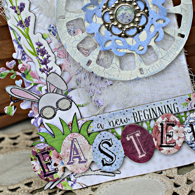 Easter Door Hanger Altered using Secret Garden papers and Eggcellent Stamp Set by BoBunny designed by Rhonda Van Ginkel
