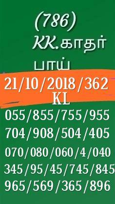 Kerala Lottery Guessing by K Kadar Bai dated 21.10.2018 Pournami RN 362