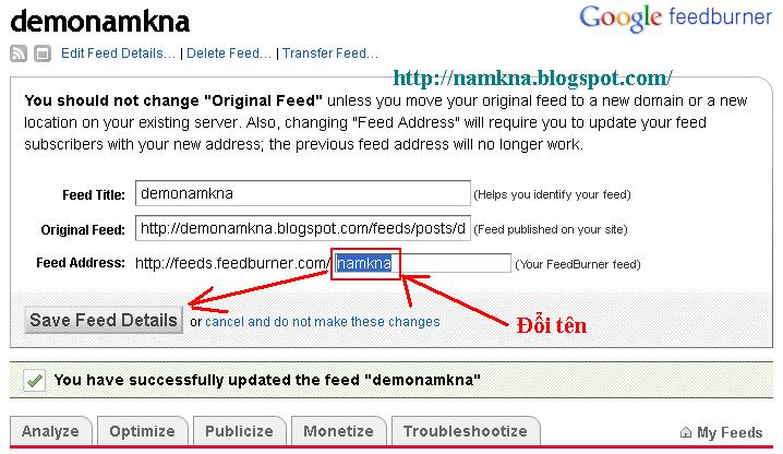 Tạo hộp đăng ký nhận tin bằng FeedBurner cho Blogspot