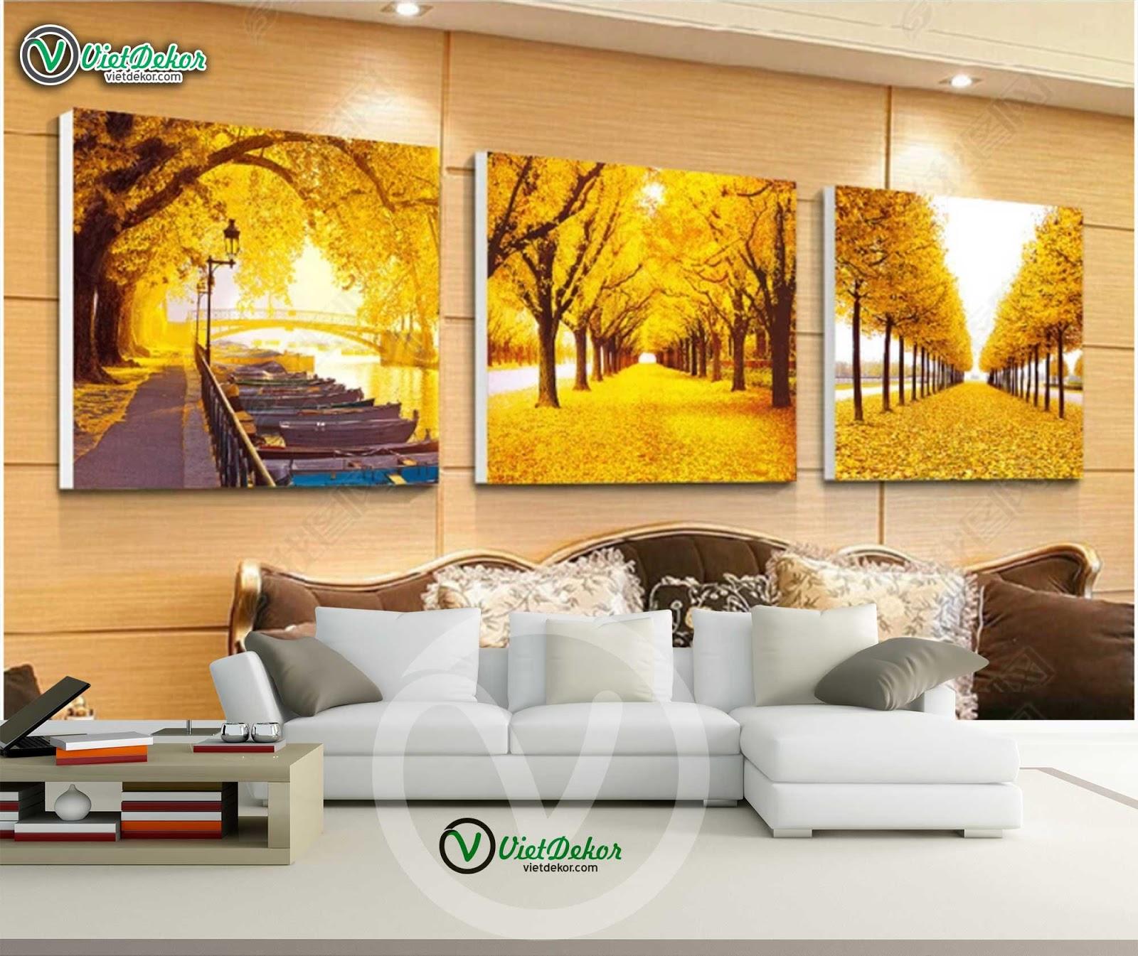 Tranh bộ 3 phong cảnh rừng cho phòng khách đẹp
