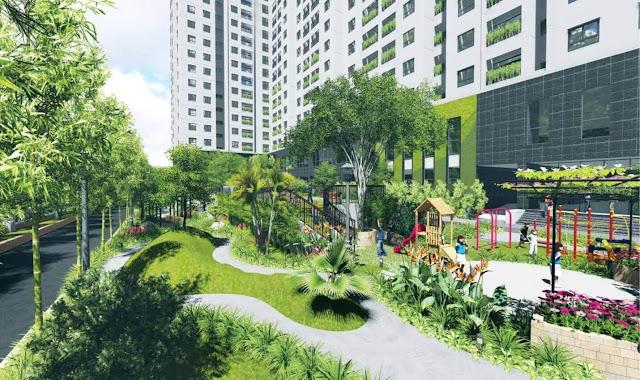 Cây xanh tại dự án Intracom Riverside Vĩnh Ngọc.