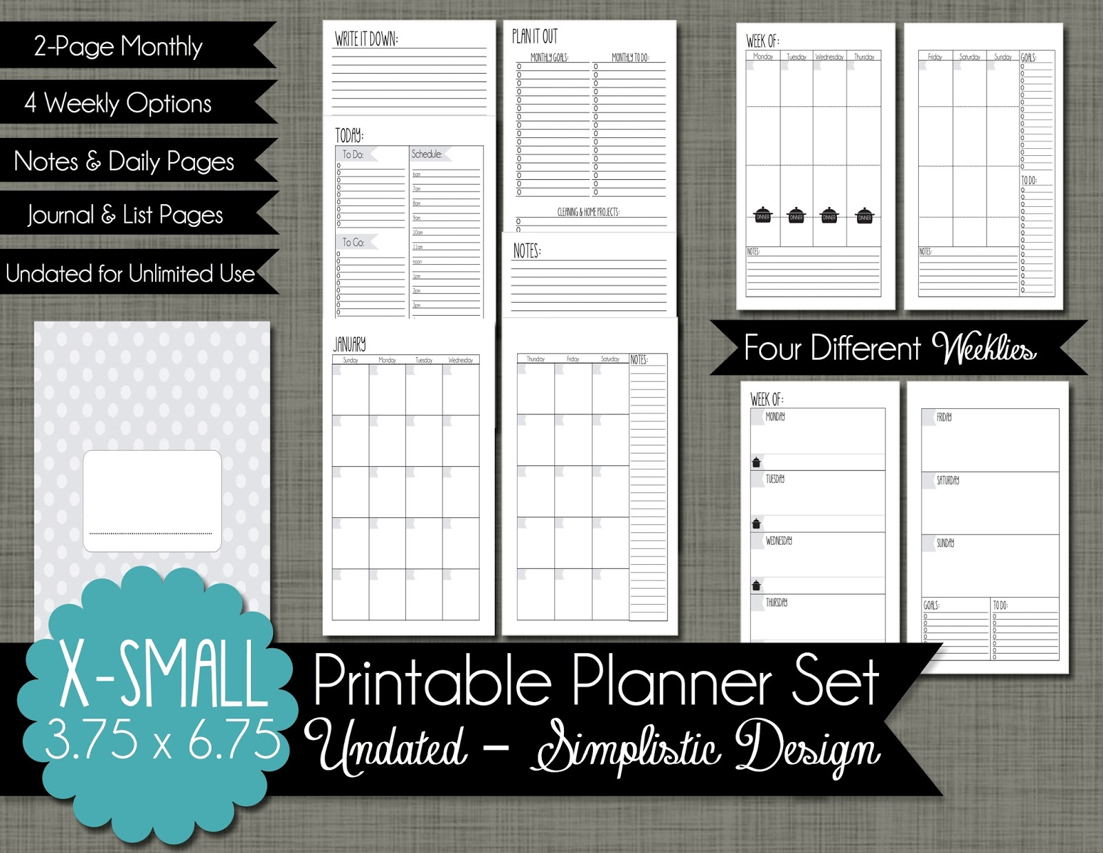The Polka Dot Posie New X Small Personal Size Planner