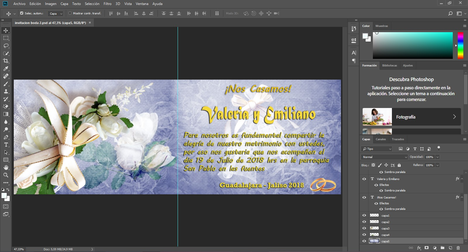Tarjeta invitación de boda floral