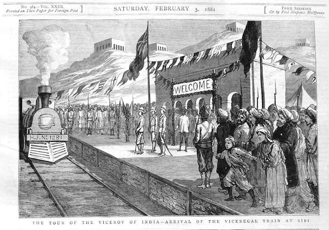 Train arrival at Sibi in 5 February 1884