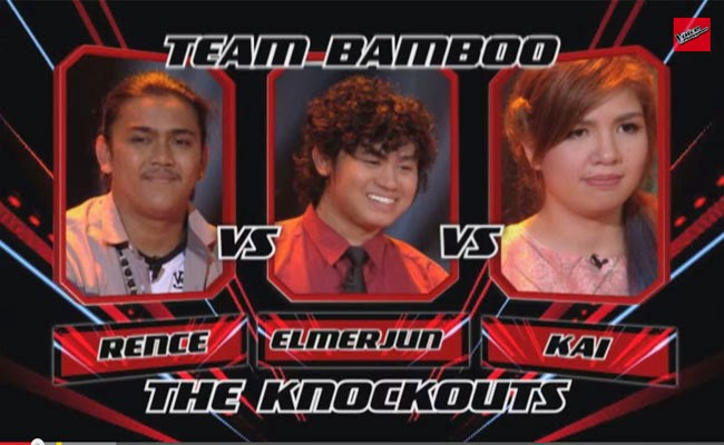 The Voice of the Philippines Season 2 Knock Out Rounds Team Bamboo; Rence Rapanot , Kai Honasan and Elmerjun Hilario