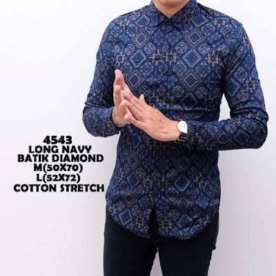 Baju batik pria slim fit