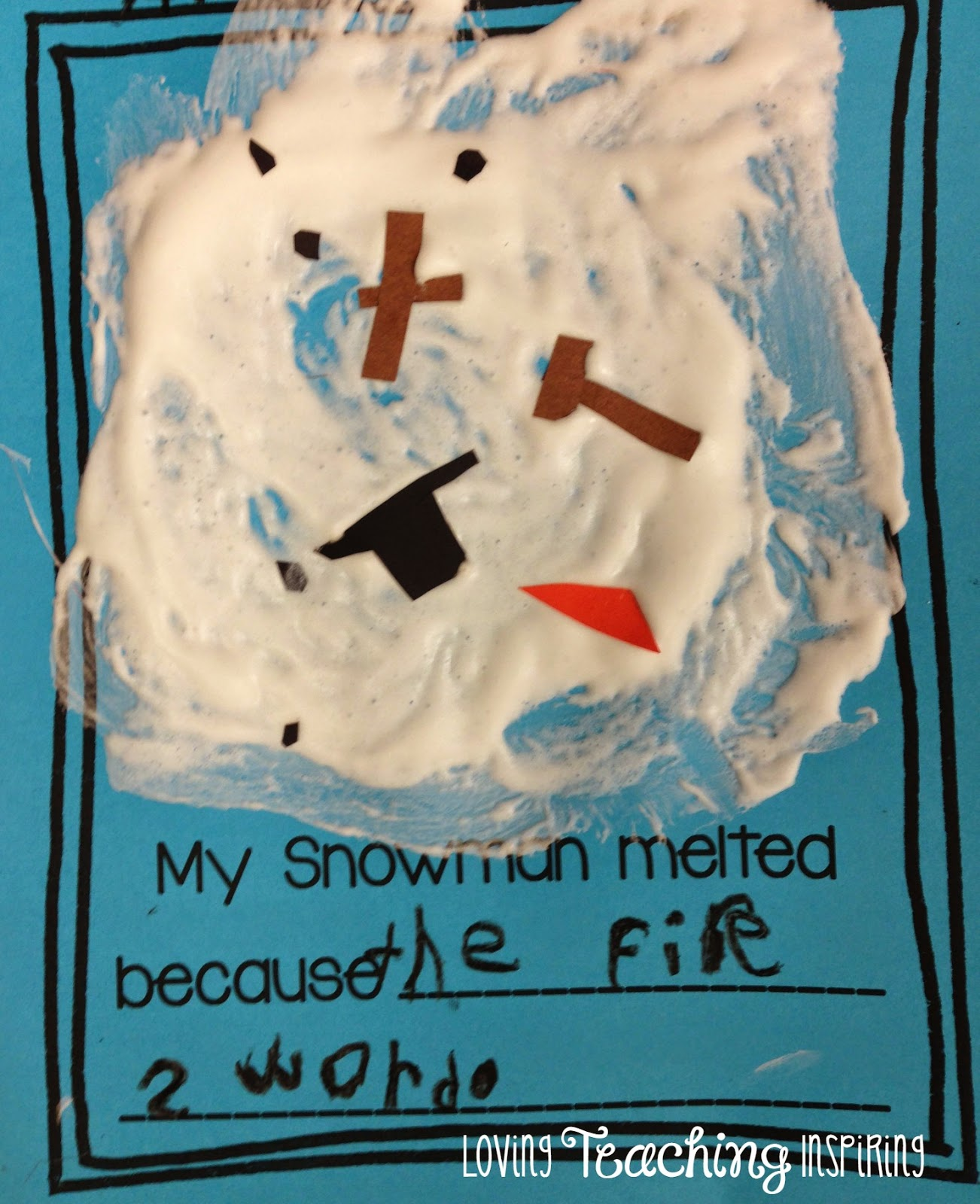 my snowman melted writing activity for 1st