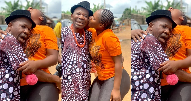 Veteran Actor Chiwetalu Agu Rests His Head On Destiny Etiko's Chest On Set