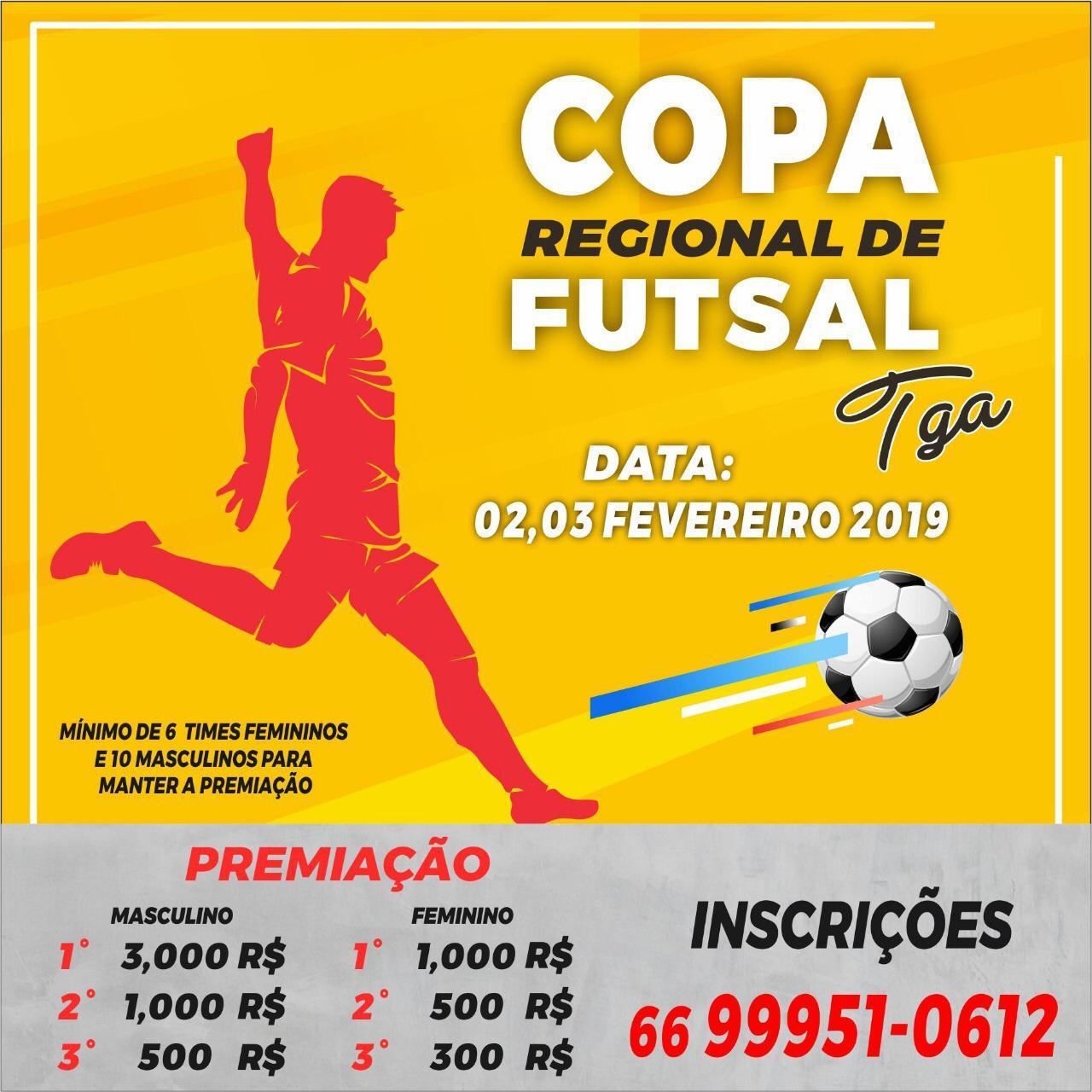 Estará acontecendo na cidade de Tangará da Serra nos dias dois e três de  fevereiro a copa regional de futsal nos naipes masculino e feminino. 8dd41b45cb3ad