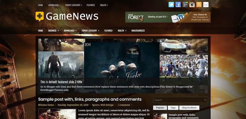 GameNews Free Blogger Template