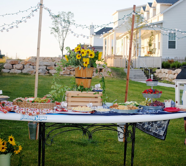 Summer party by the lake, paddle board buffet table, How to set up a party by the lake