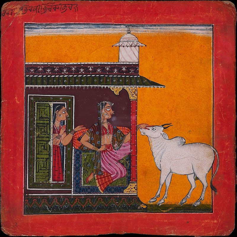 A Noble Lady and a Brahman Bull, Illustrating the Musical Mode Bhairavi Ragini - Basohli Painting, c1680