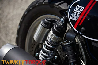 71mm-dual sided shocks that are gas charged at the rear  Yamaha SCR950