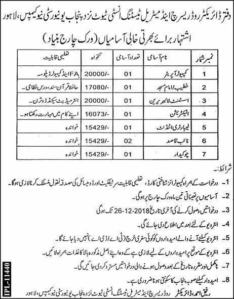 Jobs in Director Road Research and Material Testing Institute Near New Punjab Campus Lahore