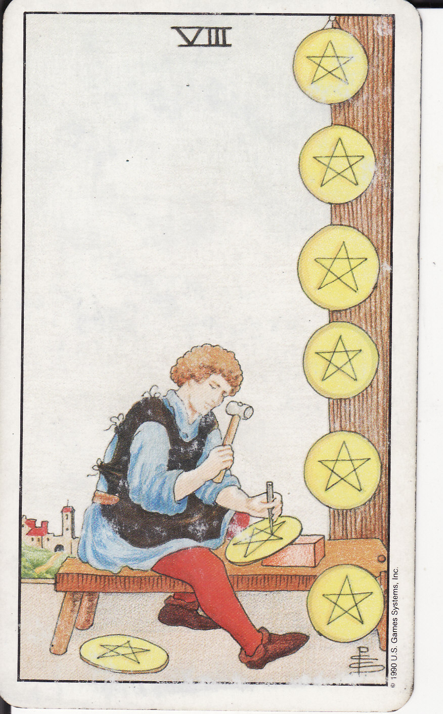 TAROT - The Royal Road: 8 EIGHT OF PENTACLES VIII