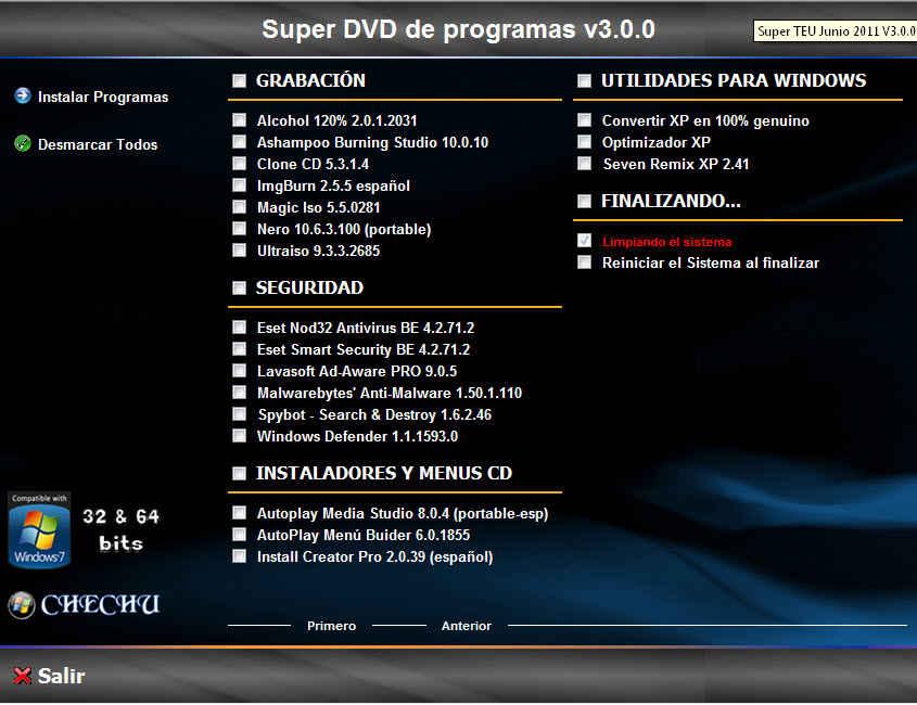 elwebnauta: TeU Super Dvd Programas Junio 2011 V3 0 0