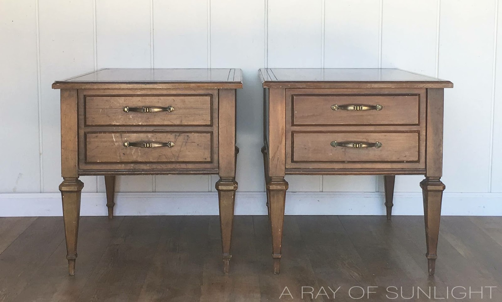 Thrifted End Tables Makeover in Light Gray Chalk Paint with a Raised Texture on the Drawer Fronts by A Ray of Sunlight